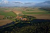 aerial view of the monastery Wülfinghausen, region Hanover, Lower Saxony