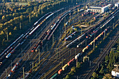 aerial view of tracks, shunting yard, Seelze, Hanover, Lower Saxony, northern Germany