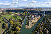aerial view of Leine River and former Continental tyre factory to be converted into a residential Wasserstadt, Limmer Hanover, Lower saxony, northern Germany