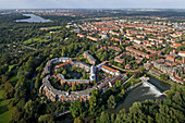 aerial view of housing settlement, Döhrener Wolle, on an island of the Leine River, Hanover, Lower Saxony, northern Germany