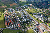 aerial view of Kronsberg housing district an Expo project, Bemerode, Hanover, Lower Saxony, northern Germany