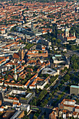 aerial view of Hanover, inner city, New Town Hall, Nord LB, Marktkirche, Lower Saxony, northern Germany