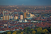 aerial view of Linden district with power station and high rise flats of the Ihme Zentrum, Hanover, Lower Saxony, northern Germany