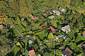 aerial overhead view of small allotment gardens or Schrebergärten in Hanover, Lower Saxony, northern Germany