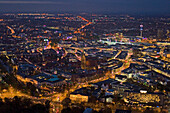 Aerial shot of city of Hanover at night, Lower Saxony, Germany