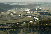 aerial view of the Leine River by Bordenau, Hanover region, Lower Saxony, northern Germany