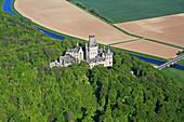 aerial view, Marienburg Castle, region of Hanover, Leine River, Lower Saxony, northern Germany