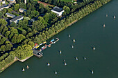 aerial view of Machsee Lake in Hannover Pier 51 restaurant and sailing boats, avenue of trees, Hanover, Lower Saxony, northern Germany