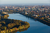 Aerial shot of Lake Maschsee, Hanover, Lower Saxony, Germany