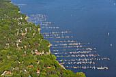 Aerial shot of jetties at Steinhude Lake, Mardorf, Lower Saxony, Germany
