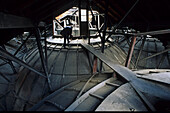 Above the vaulted roof of Bibliotheque Nationale de France, 2nd Arrondissement, Paris, France, Europe