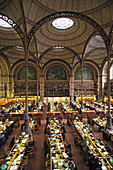 Old National Library of France in Paris, Richelieu, built by Henri Labrouste, 19th century cast iron architecture, 2e Paris, France