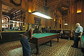 A group of old men playing billiards, Academie de Billards, Clichy, Montmartre, in a former Brasserie built in 1880, 9e Arrondissement, Paris, France