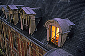 Apartments in the evening light, roofs of Paris, romantic, Place des Vosges, Paris, France