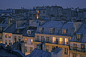 Apartment rooftops in the evening light, sunset, romantic, Paris, France