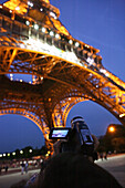 Looking up the Eiffel Tower, Video shot of the Eiffel Tower, engineer Gustave Eiffel, 1889, Paris, France