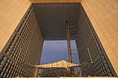 Grande Arche de la Defense, sails called the clouds, from Danish architect Johann Otto von Spreckelsen, Paris, France