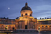 Institut de France in the evening light, classical French baroque palace, five academies, French language, 6e Arrondissement, Paris, France