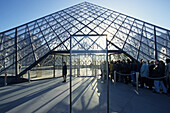 Museum Louvre with IM Pei glass Pyramid, Paris, France
