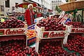 Fresh, ripe cherries on the market, Rue Mouffetard, Paris, France