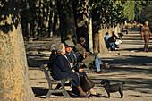 Elderly couple sitting on park bench, Jardin des Tuileries, Autumn, 1e Arrondissement, Paris, France