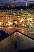 View from Comédie Francais onto illuminated Place Andre Malraux and Eiffel tower, 1. Arrondissement, Paris, France, Europe