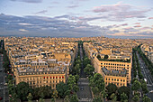 Roofs of Paris, view from Arc de Triomphe onto Montmartre in the evening sun, Skyline, Paris, France, Europe