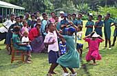 South Pacific Fiji Islands Vitu Levu school class dancing outdoor