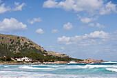 Beach and Stormy Seas, Cala Rajada, Mallorca, Balearic Islands, Spain