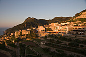 Quaint Village of Banyalbufar at Sunset, Banyalbufar, Mallorca, Balearic Islands, Spain