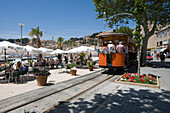 Outdoor Cafe Seating and Soller Tram, Mallorca, Balearic Islands, Spain