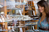 Julia Admiring Sweets at Soller Bakery, Soller, Mallorca, Balearic Islands, Spain