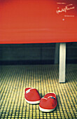 Bench, Benches, Close up, Close-up, Closeup, Color, Colour, Comfort, Comfortable, Concept, Concepts, Detail, Details, Footgear, Footwear, Indoor, Indoors, Inside, Interior, Pair, Pairs, Red, Shoe, Shoes, Slipper, Slippers, Still life, Two, Vertical, L55-2