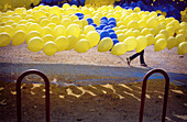 Balloon, Balloons, Childhood, Color, Colour, Contemporary, Daytime, Exterior, Fair, Fairs, Horizontal, Infantile, Leisure, Many, Outdoor, Outdoors, Outside, Parties, Party, Recreation, Yellow, L55-307074, agefotostock