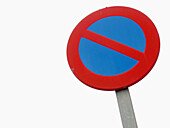 Blue, Close up, Close-up, Closeup, Color, Colour, Concept, Concepts, Daytime, Exterior, Forbidden, Horizontal, Negative, Negative concept, No Parking, One, Outdoor, Outdoors, Outside, Prohibited, Prohibition, Red, Road sign, Road Signs, Round, Street, Str