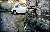 Aged, Antique, Auto, Automobile, Automobiles, Autos, Bellosguardo, Car, Cars, Color, Colour, Contemporary, Corner, Corners, Daytime, Detail, Details, Europe, Exterior, Fiat Cinquecento, Florence, Half, Halves, Horizontal, Italy, Old, Outdoor, Outdoors, Ou