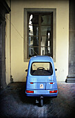 Blue, Cities, City, Color, Colour, Concept, Concepts, Courtyard, Courtyards, Cycle, Cycles, Daytime, Europe, Exterior, Florence, Italy, Little, Mechanics, Nobody, One, Outdoor, Outdoors, Outside, Toscana, Transport, Transportation, Transports, Tricycle, T