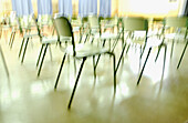 Blurred, Chair, Chairs, Classroom, Classrooms, Close up, Close-up, Closeup, Color, Colour, Concept, Concepts, Horizontal, Indoor, Indoors, Inside, Interior, Nobody, Waiting room, Waiting rooms, L55-367201, agefotostock