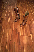 Boot, Boots, Brown, Color, Colour, Concept, Concepts, Floor, Floors, Footgear, Footwear, Indoor, Indoors, Interior, Leather, Pair, Pairs, Parquet, Still life, Two, L55-491956, agefotostock