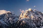 Sextener Dolomiten, view from Monte Agudo, near Auronzo. Winter afternoon. South Tyrol. Italy.