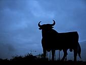 Bull silhouette, typical advertising of Spanish sherry Osborne. Navarre, Spain