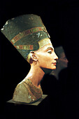 Bust of Queen Nefertiti, painted limestone c. 1350 BC in the Egyptian Museum. Berlin, Germany