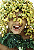 Adult, Adults, Amusing, Close up, Close-up, Closeup, Color, Colour, Contemporary, Date, Dates, Disgust, Facial expression, Facial expressions, Facing camera, Food, Fruit, Fruits, Funny, Green vegetable, Green vegetables, Grimace, Grimaces, Headshot, Heads