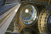 Dome on the aisle of St. Peters Basilica. Vatican City, Rome. Italy