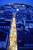 Night view of St. Georges Castle and Baixa-Chiado neighbourhood, Lisbon. Portugal