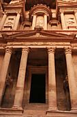 Façade of the Khasneh (Treasury) at Petra. Jordan