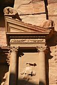 Façade detail of the Khasneh (Treasury) at Petra. Jordan
