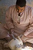 Artisan working alabaster. Luxor. Egypt