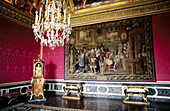 Chandelier and artworks. Royal Apartments. Palace of Versailles. Versailles. France
