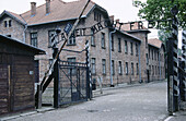 Work makes you free sign at entrance of World War II Auschwitz concentration and extermination camp. Oswiecim. Poland